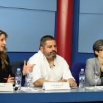 Flora Sánchez Castañón, directora de UniprexTV,  Jalis de la Serna, director y reportero de En Tierra Hostil,  y Luz Aldama, directora de Programas de Actualidad Atresmedia, en la Universidad Nebrija