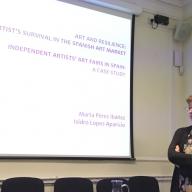 La profesora Marta Pérez Ibáñez habla sobre el mercado español del arte en el 1º congreso de TIAMSA en el...